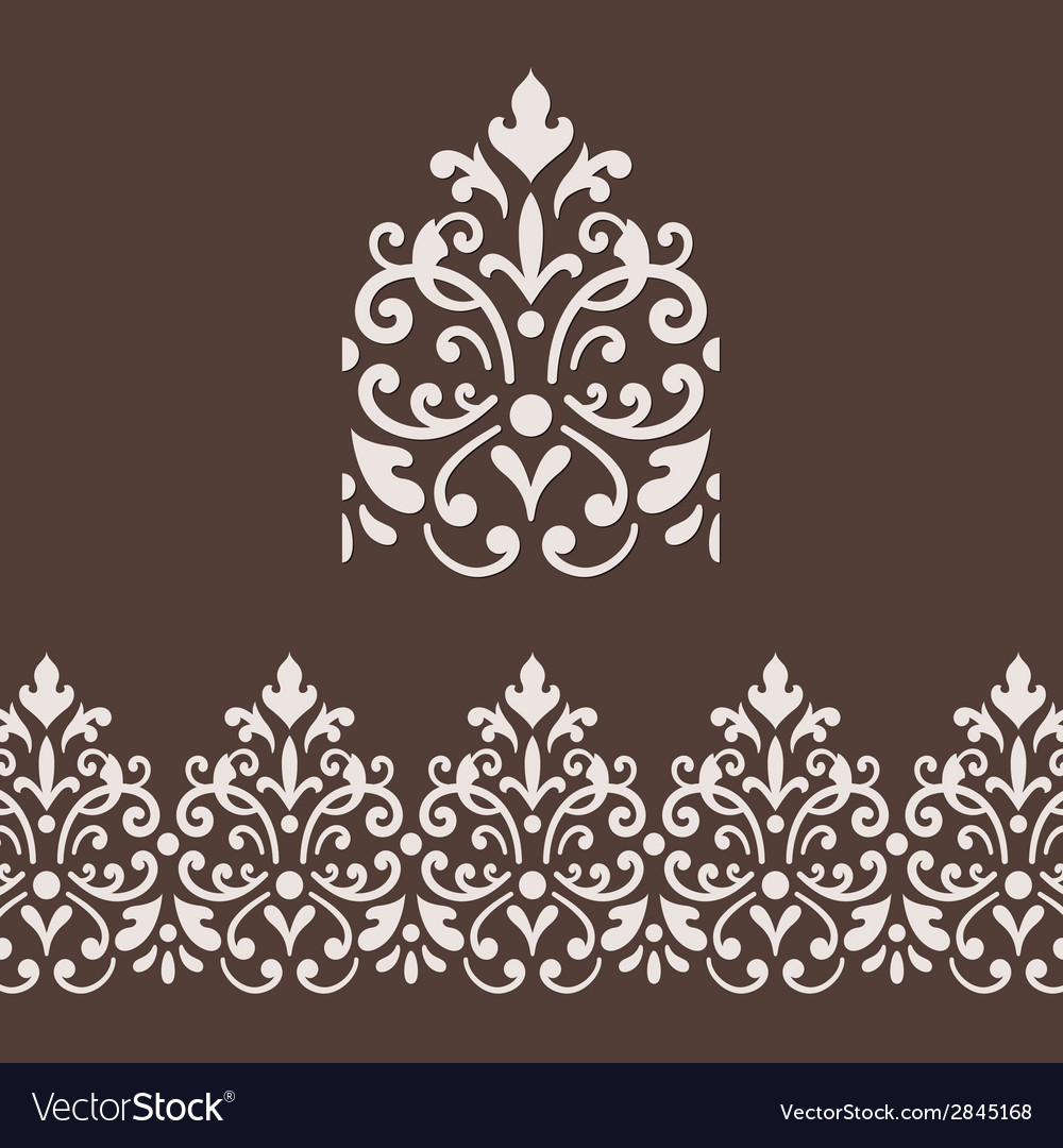 Border frame with damask ornament vector image