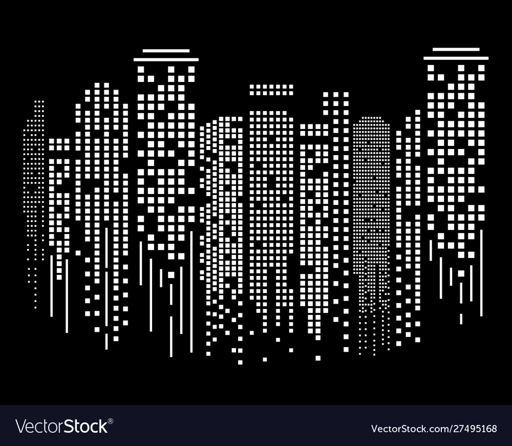 Cityscape silhouette at night in flat design