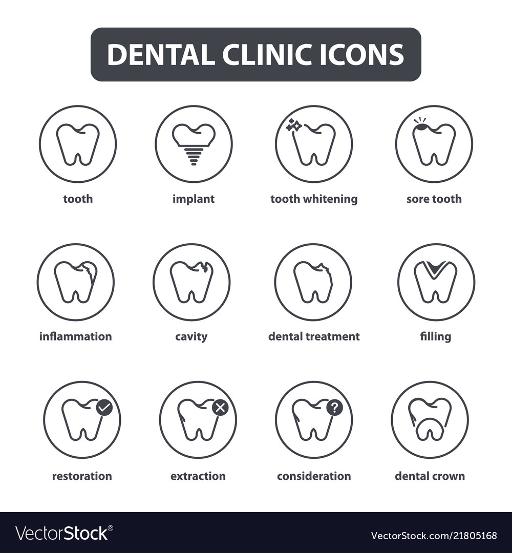 Collection of dental clinic line style