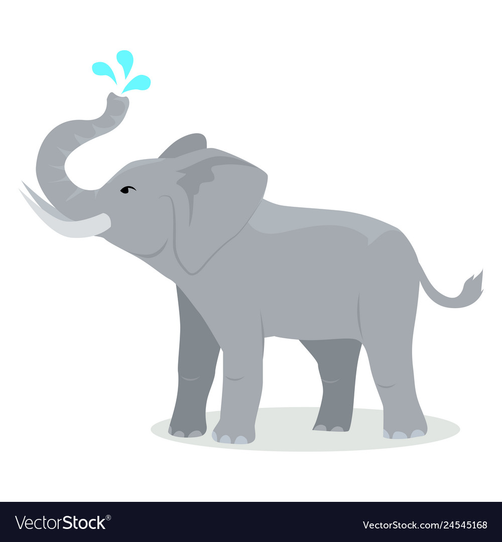 Elephant cartoon icon in flat design