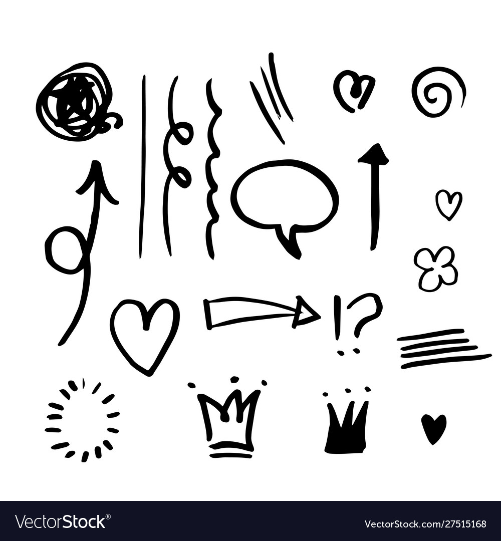 Hand drawn set elementsarrow heart love star