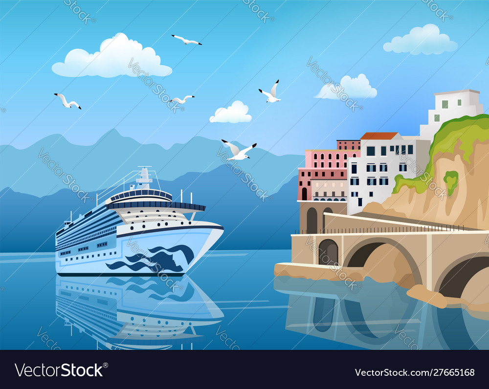 Landscape with cruise ship near coast with