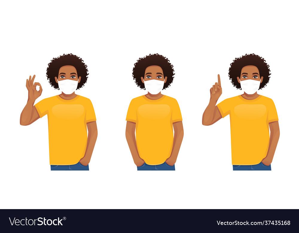Man wearing protective medical mask