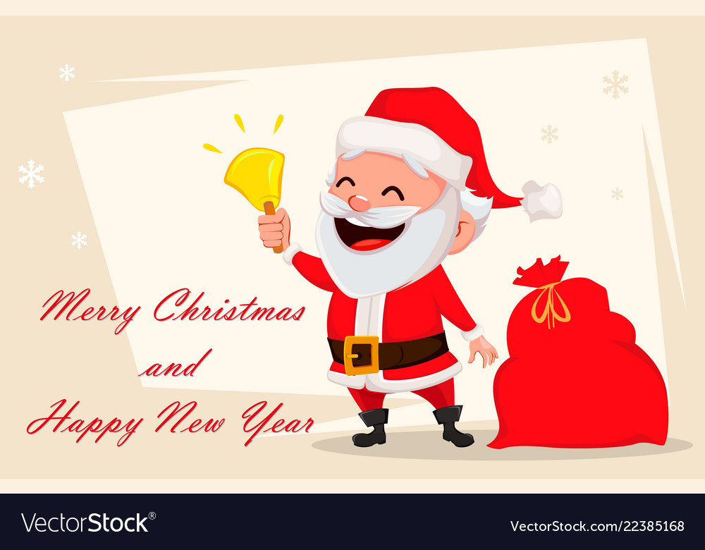 Merry Christmas Wishes Funny.Merry Christmas Greeting Card With Santa Claus