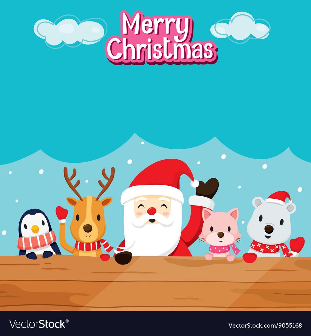 Santa Claus Animals On Wood
