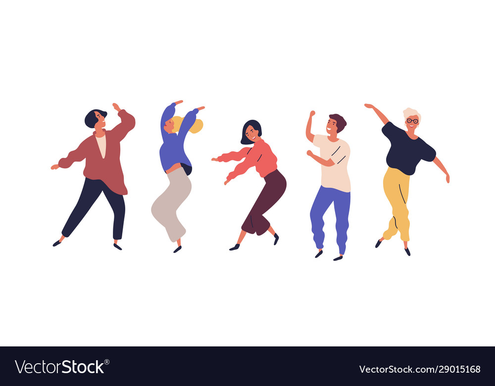 Set dancing people having fun isolated on white