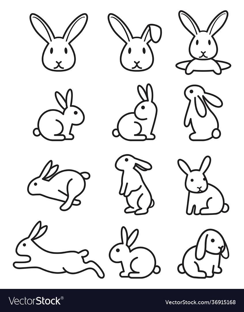Set rabbit bunny icons