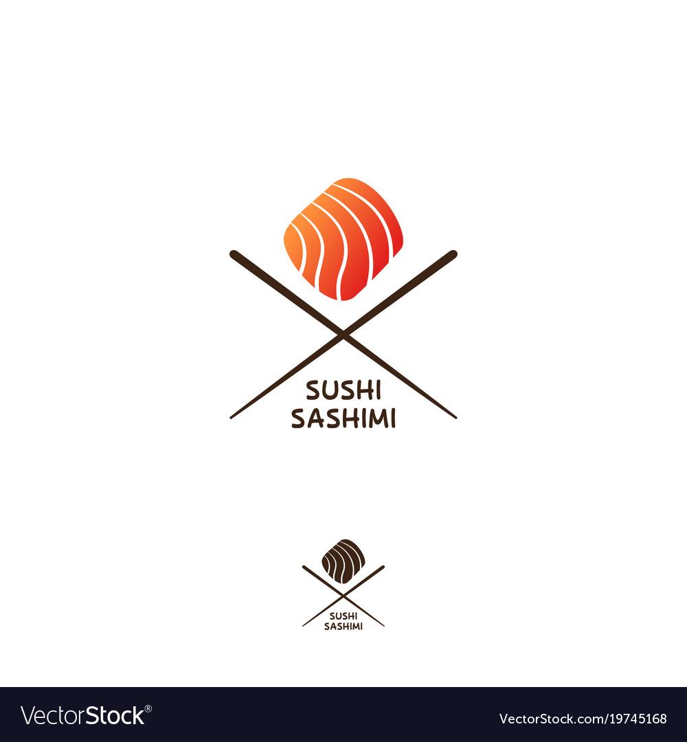 Sushi and sashimi logo or japanese restaurant embl
