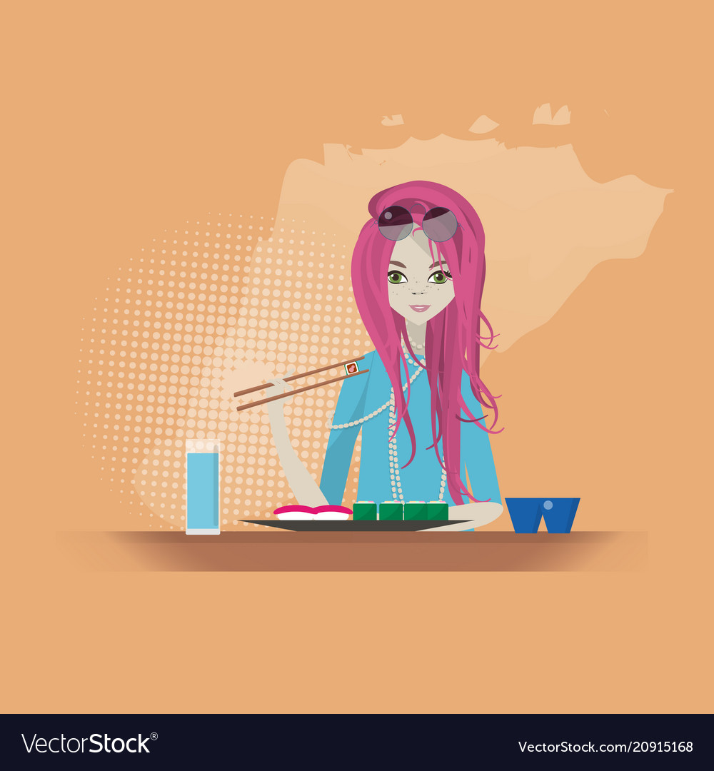 Sushi restaurant girl eats vector image