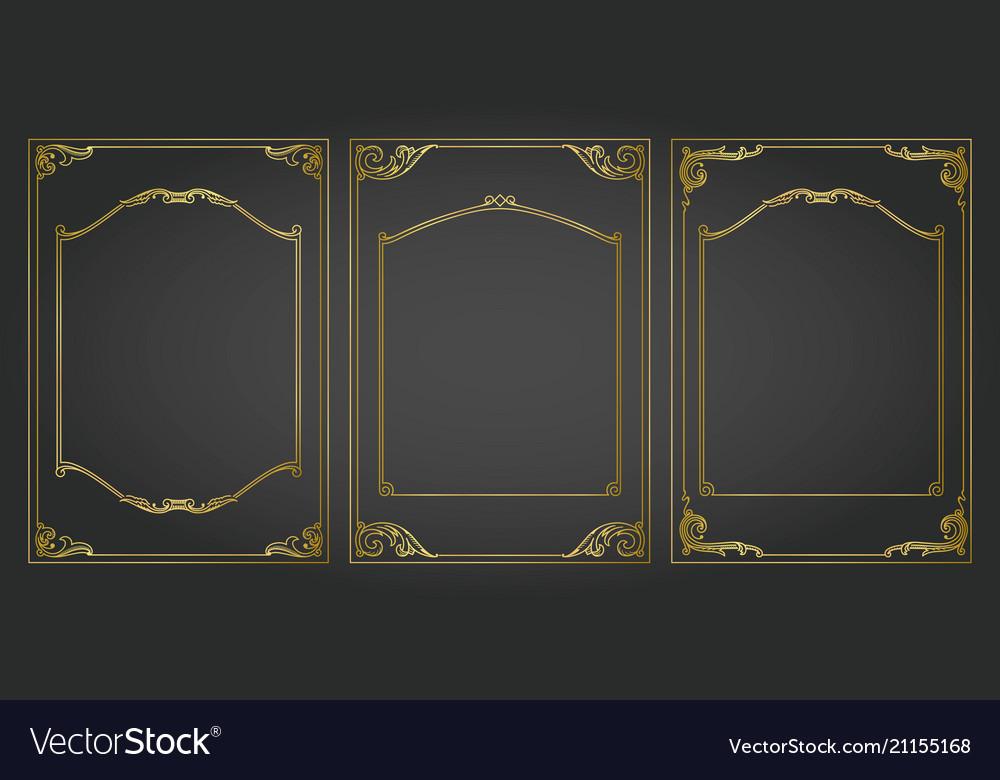 Vertical frames and borders set decorativ gold