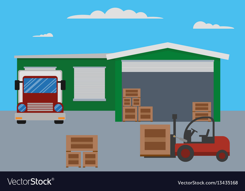 Warehouse building and shipping process vector image