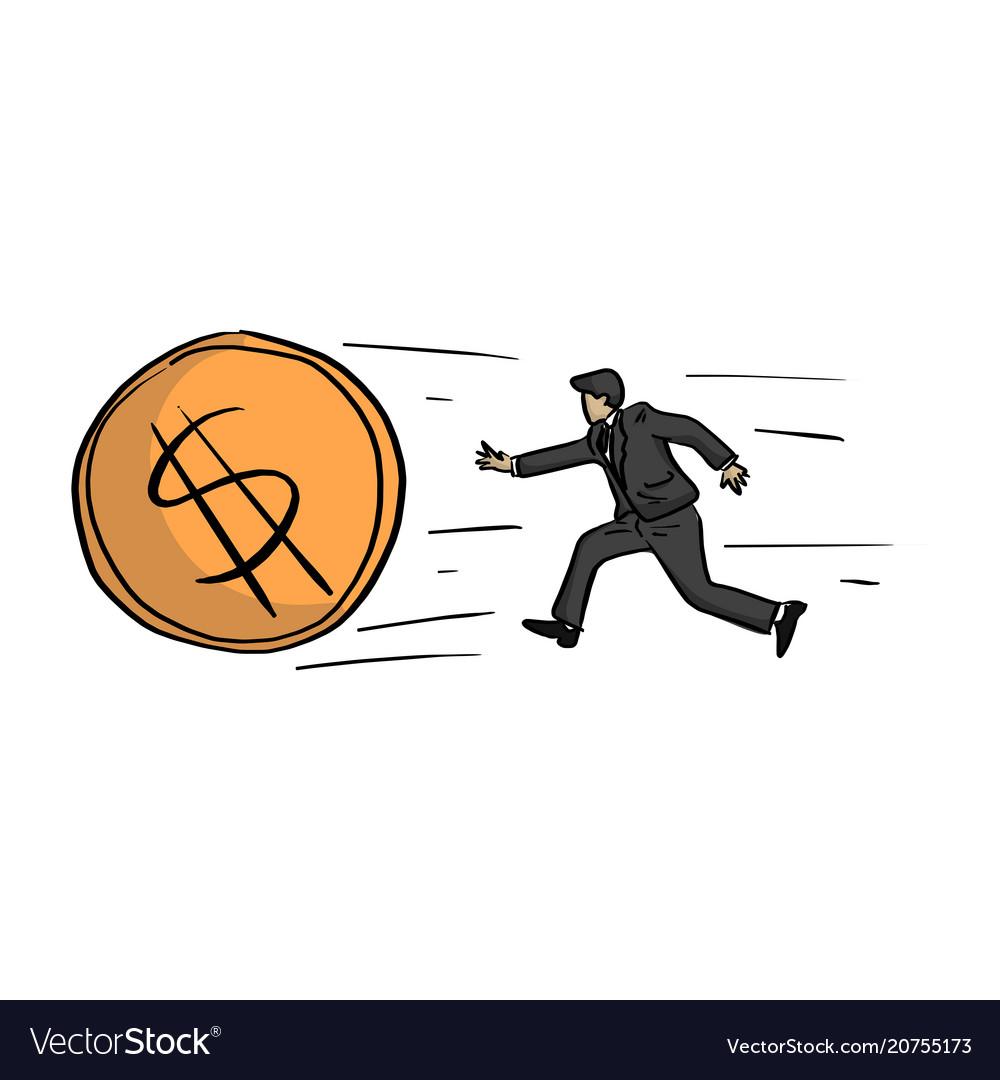 Businessman chasing the big golden dollar coin