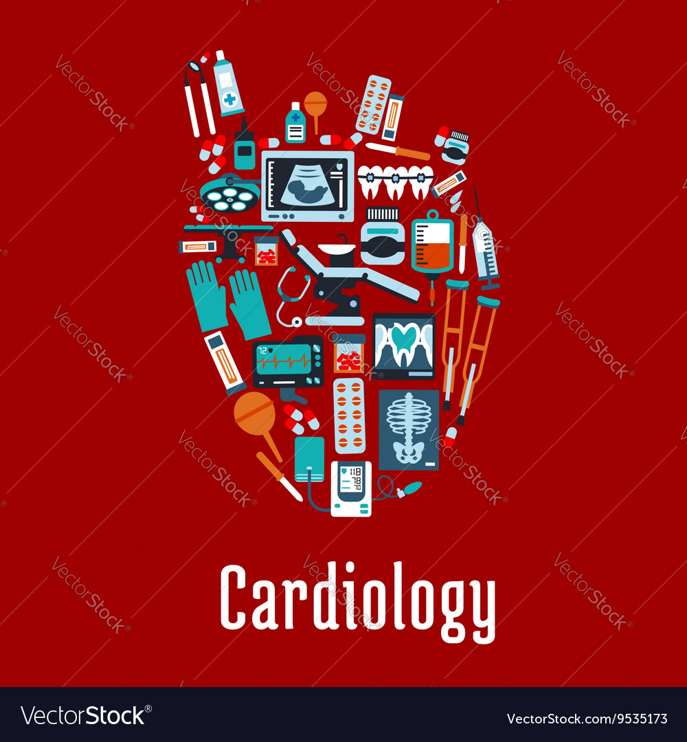 Cardiology symbol with flat silhouette of a heart