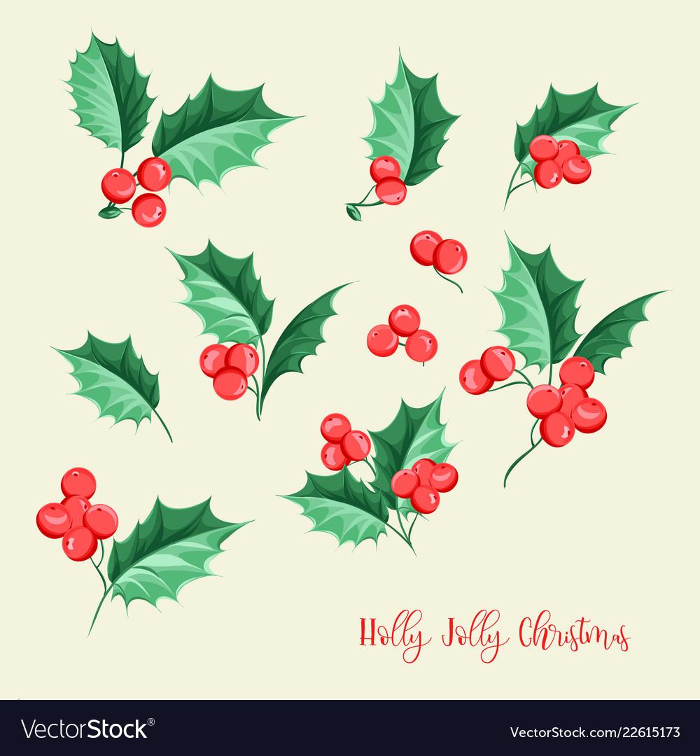 Christmas mistletoe holiday set happy new year