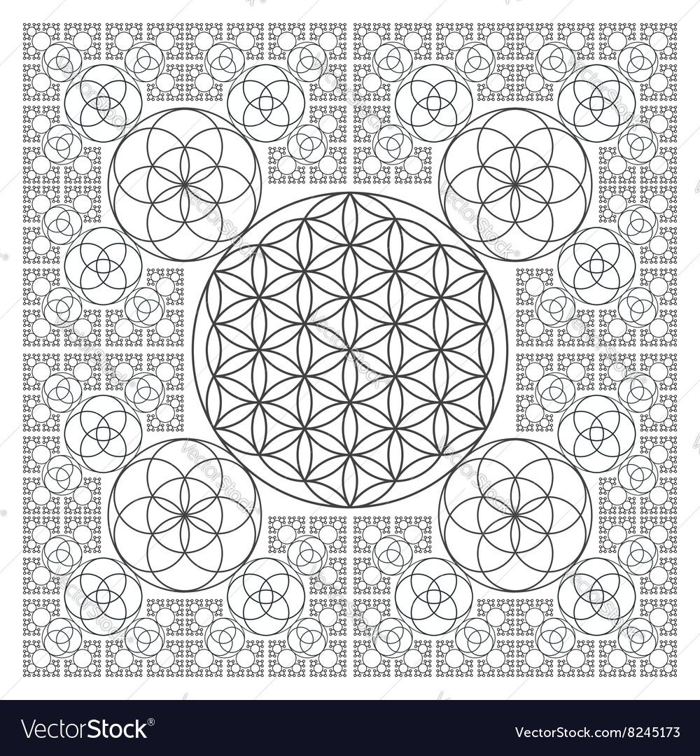 Circle outline flower of life fractal geometry