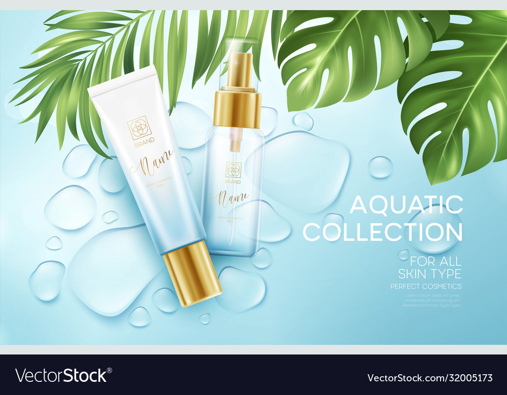 Cosmetics on blue water drop background
