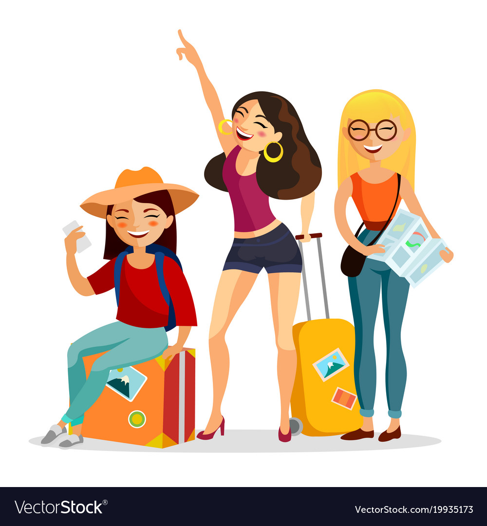 Girls traveling together flat vector image
