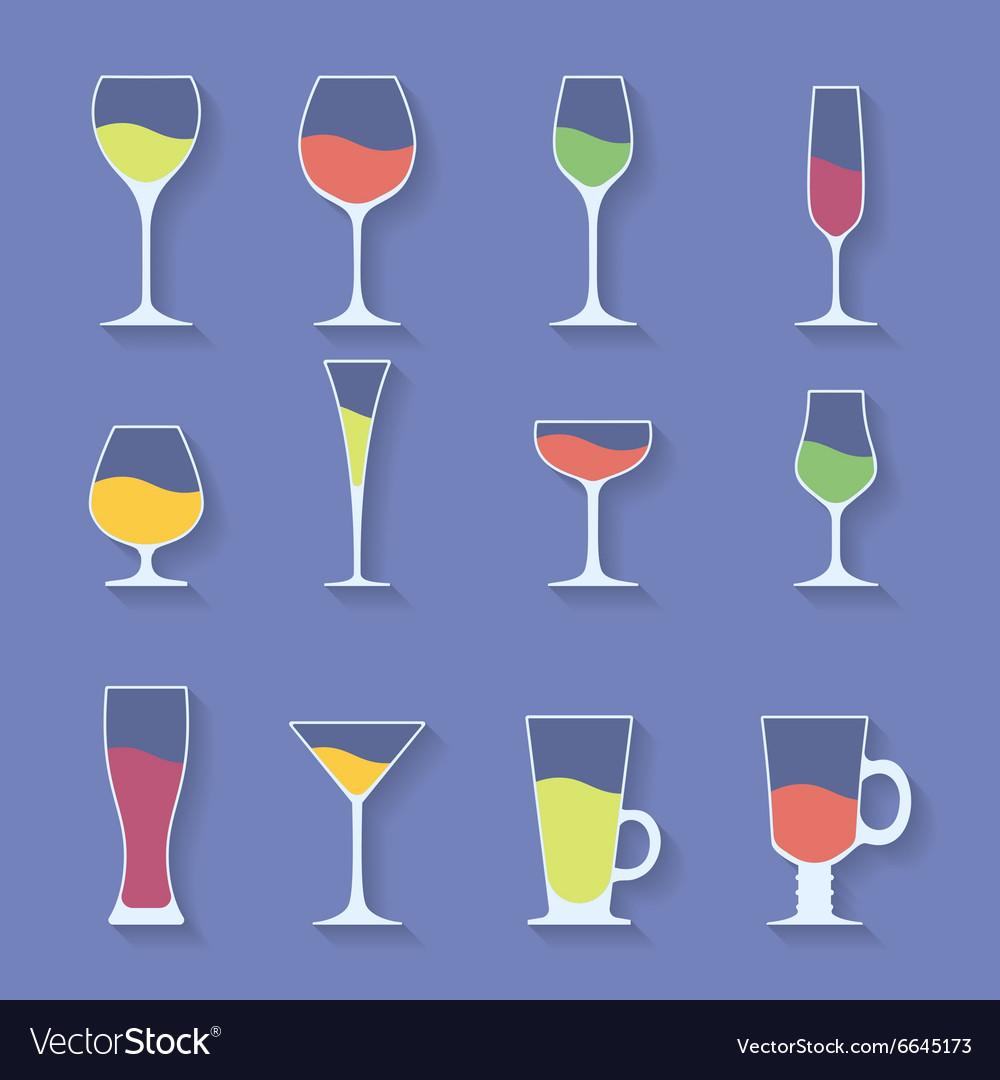 Icon set of utensil Wine beer martini whiskey
