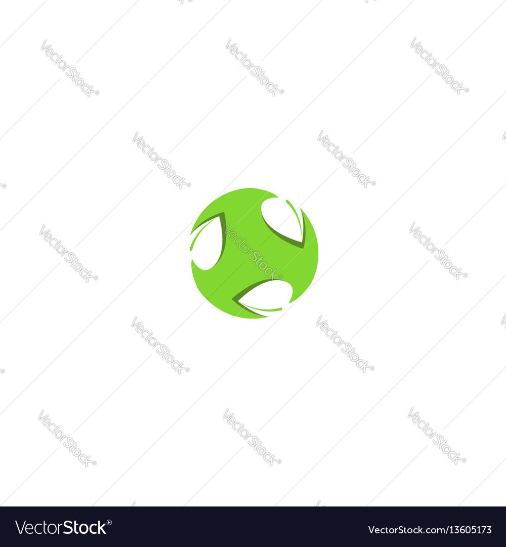 Leaf logo shape circle light green design element vector image