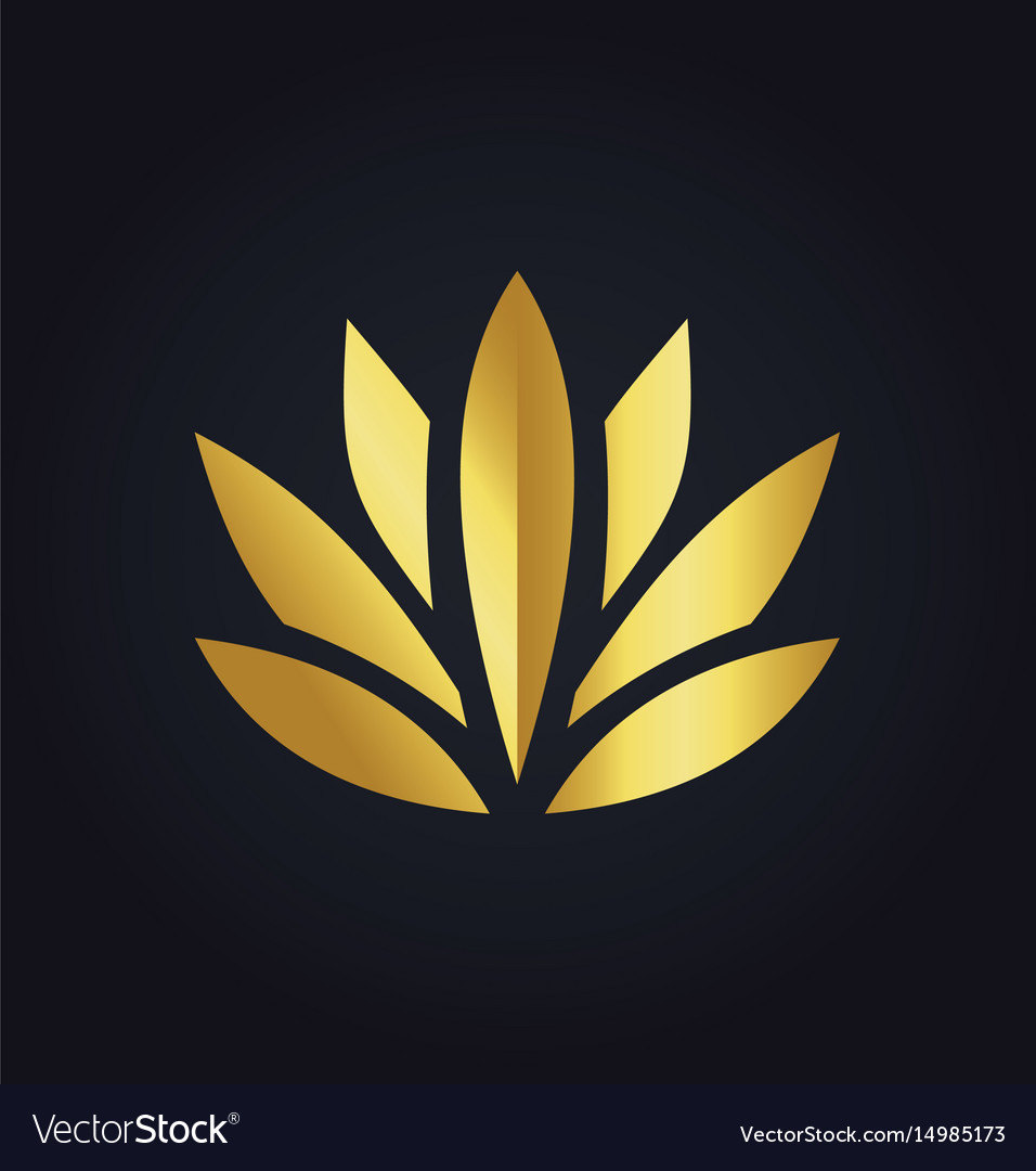 Lotus Flower Beauty Color Gold Logo