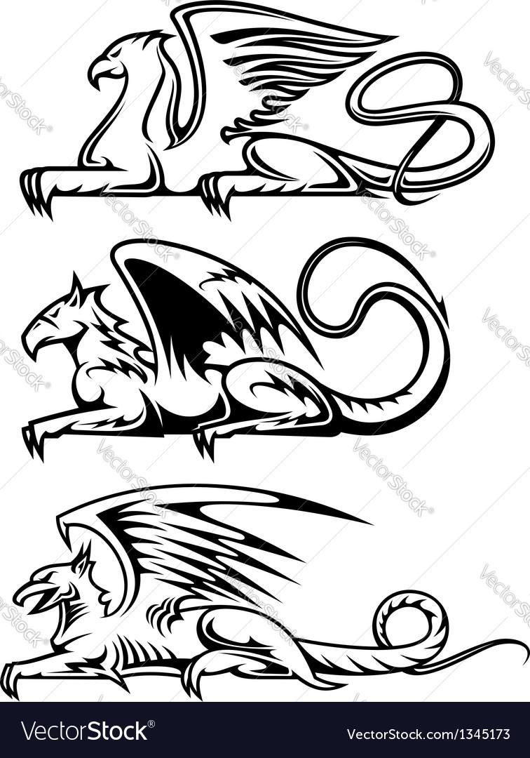 Medieval gryphons set vector image