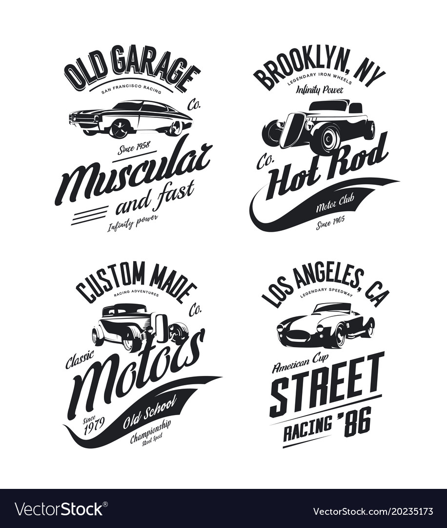 Muscle Car Tee Shirt Logo Isolated Set Royalty Free Vector