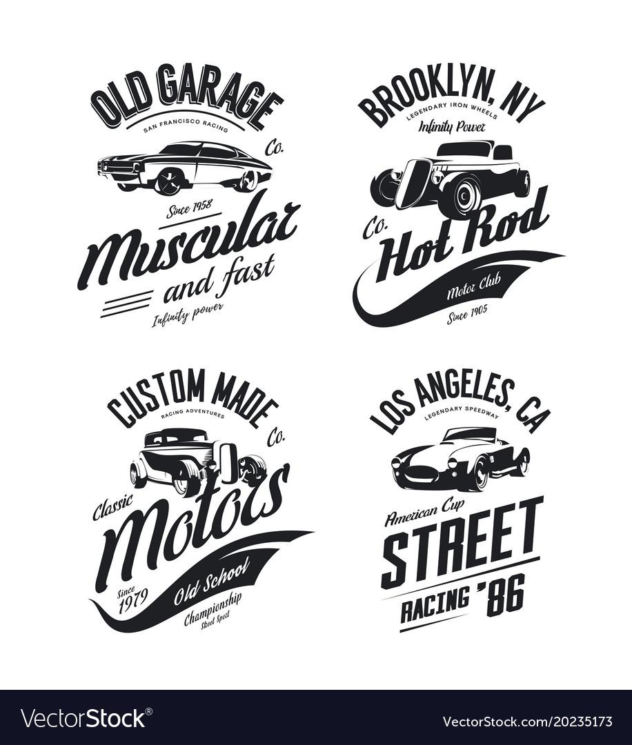 Muscle Car Tee Shirt Logo Isolated Set Royalty Free Vector