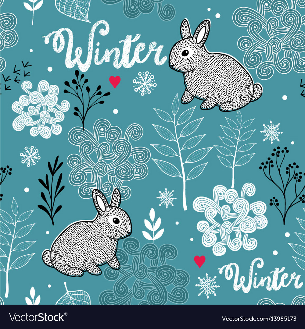 Seamless winter pattern of frozen forest and small