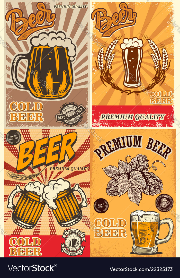 Set of beer pub posters design element for poster
