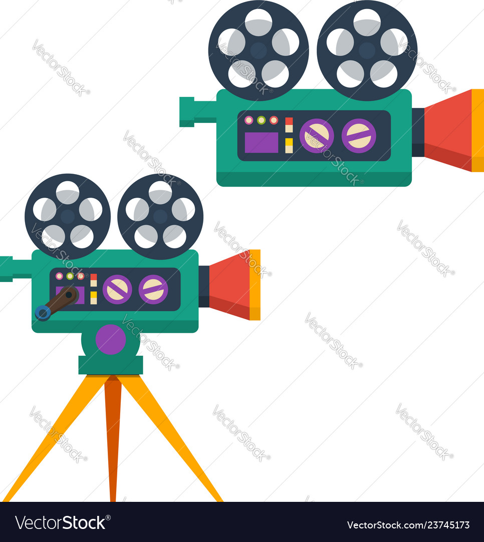Vintage movie camera in flat style isolated on