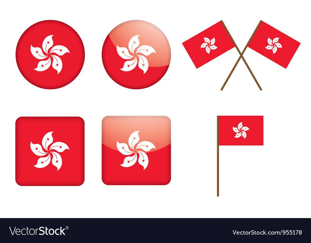 Badges with flag of Hong Kong
