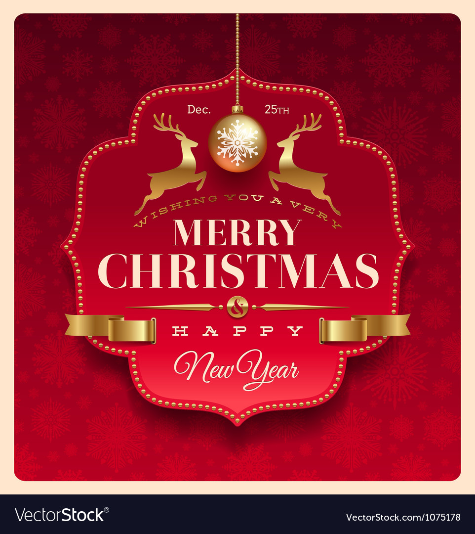 Christmas greeting decorative label vector image