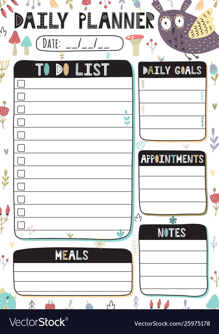 Daily planner with cute owl printable template