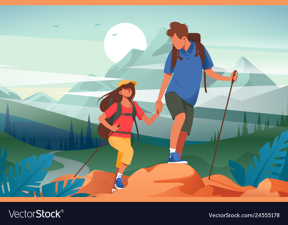 Flat young woman and man couple hiking in