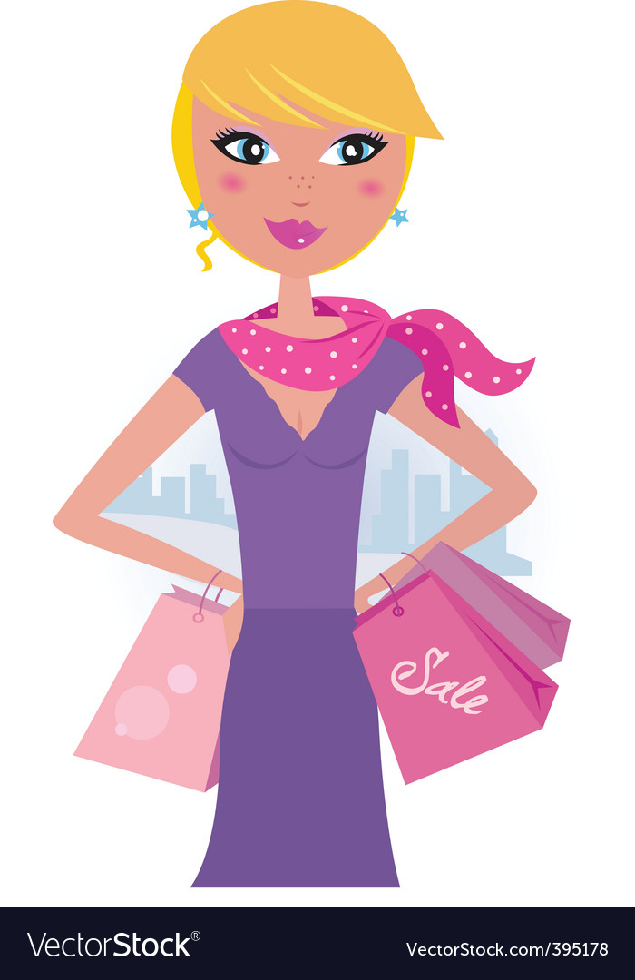 Happy blond woman on shopping