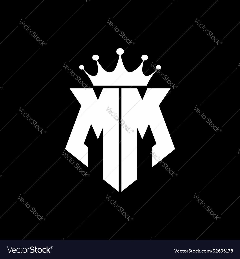 Mm logo monogram shield shape with crown design