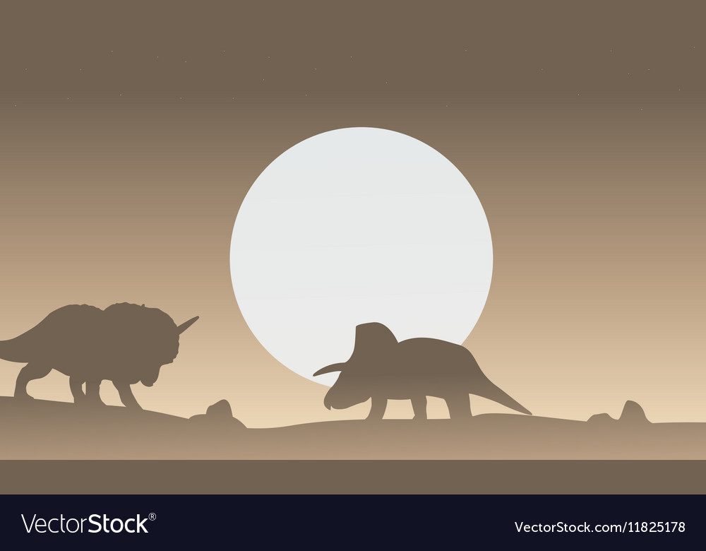Silhouette of two triceratops dinosaur scenery