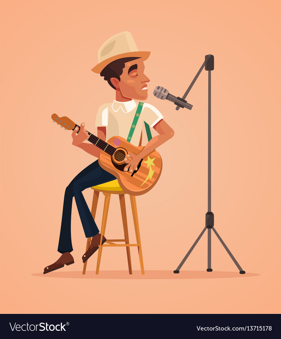 Singer man character sing song and play guitar vector image