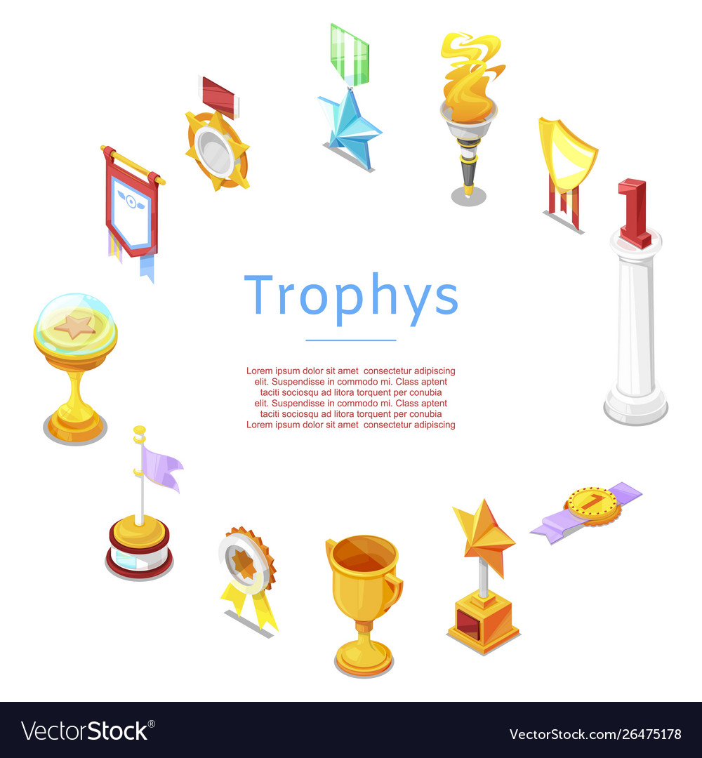 Sport trophy prizes statuettes and golden cups