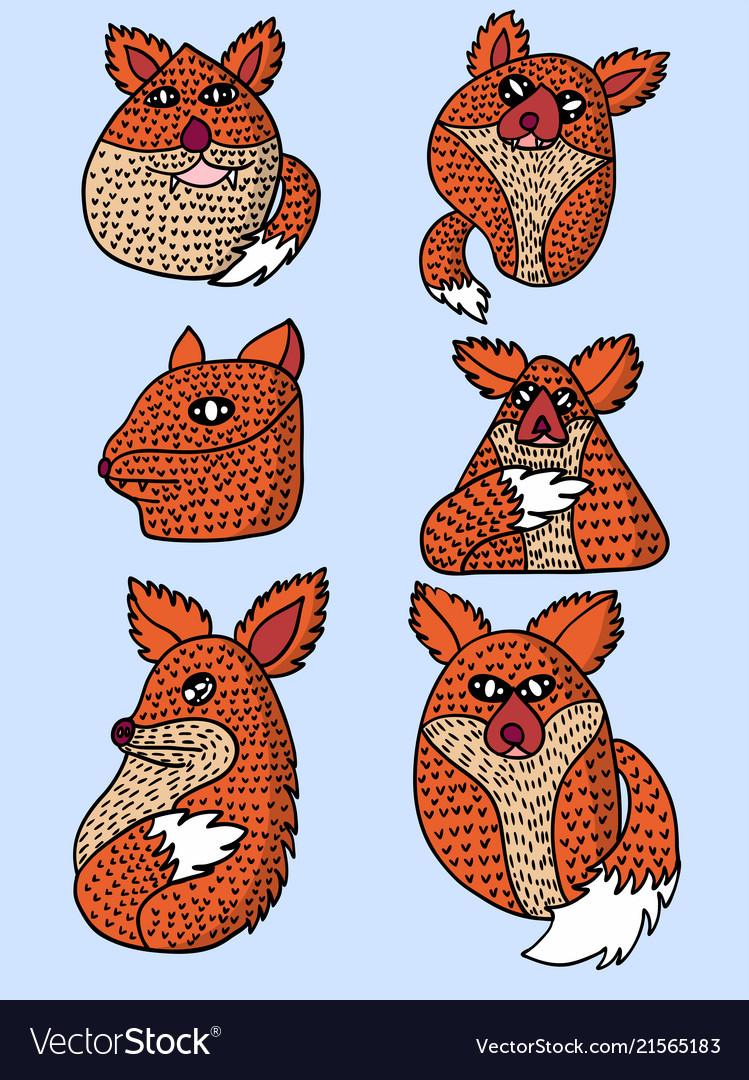 Character design orange fox set
