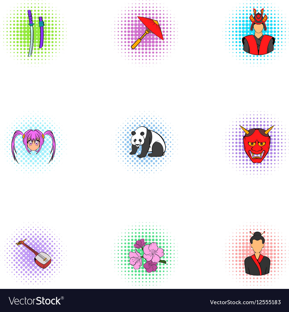 Country Japan icons set pop-art style vector image