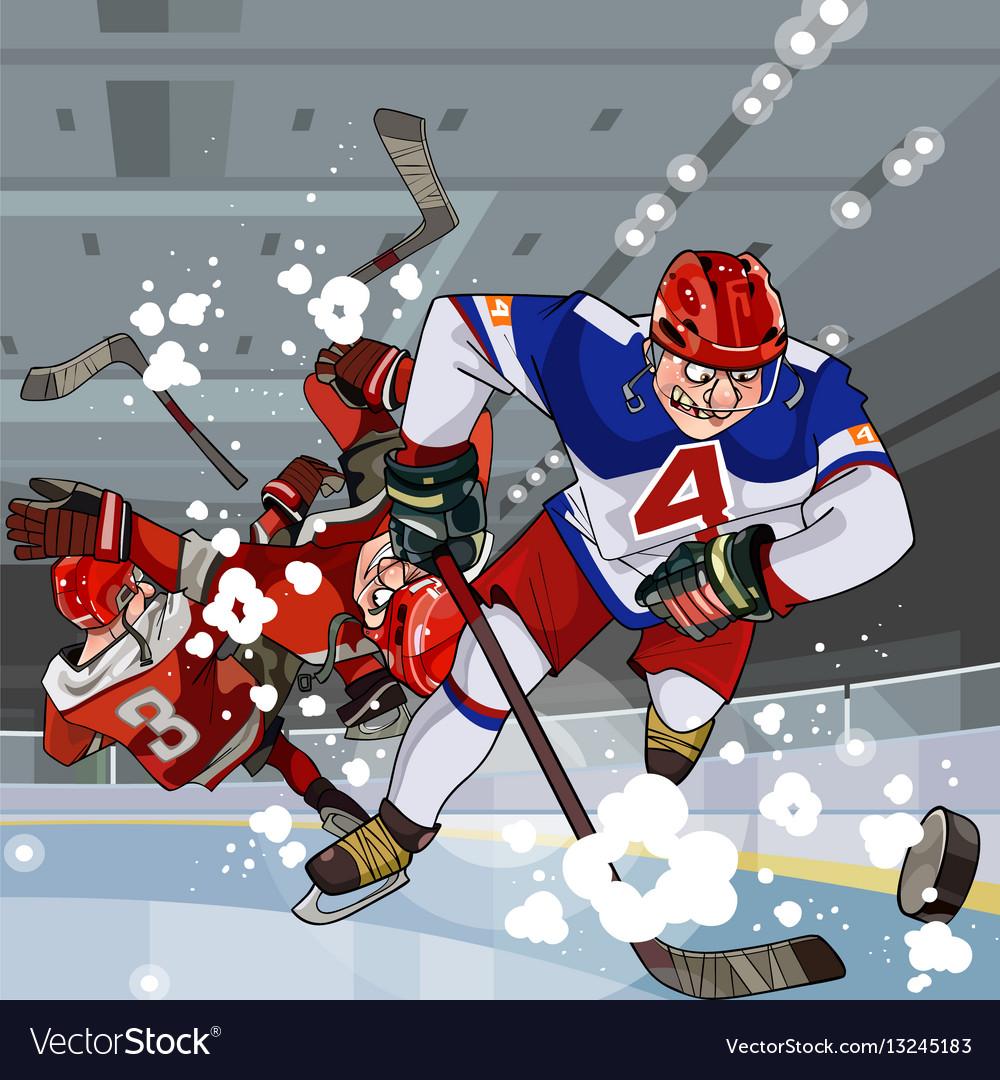 Funny Cartoon Hockey Players Play Hockey Vector Image