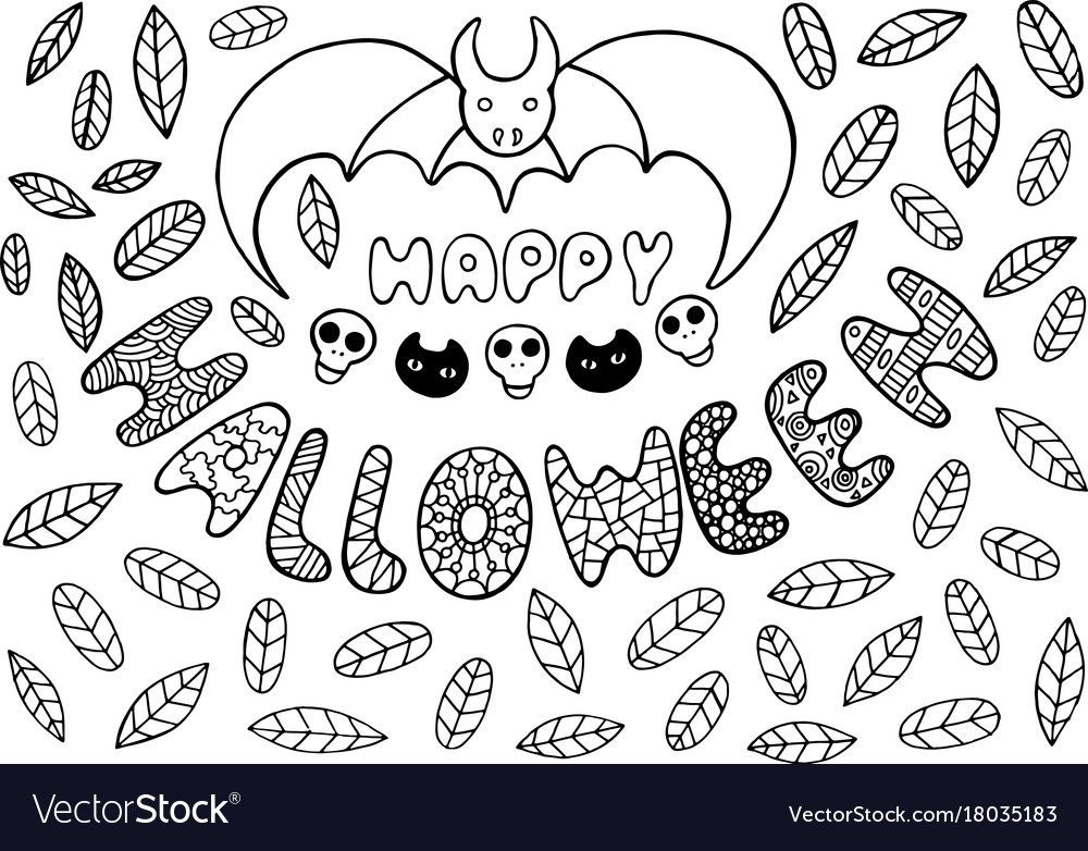 Greeting card for halloween with bat skulls cats