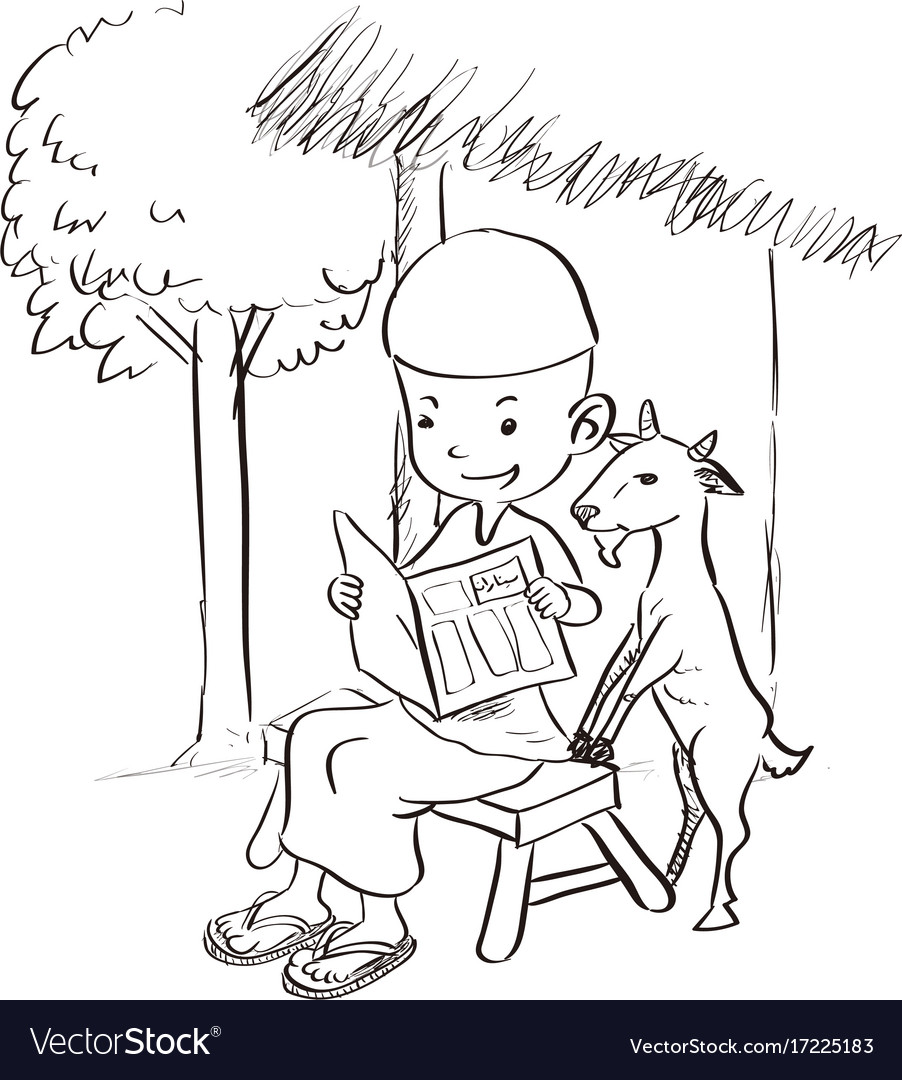 Muslim boy reading with a goat - sketch drawing