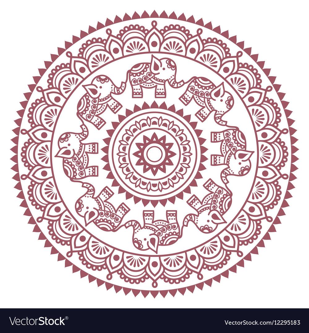 Round Mehndi Indian Henna Brown Tattoo Pattern Vector Image On Vectorstock