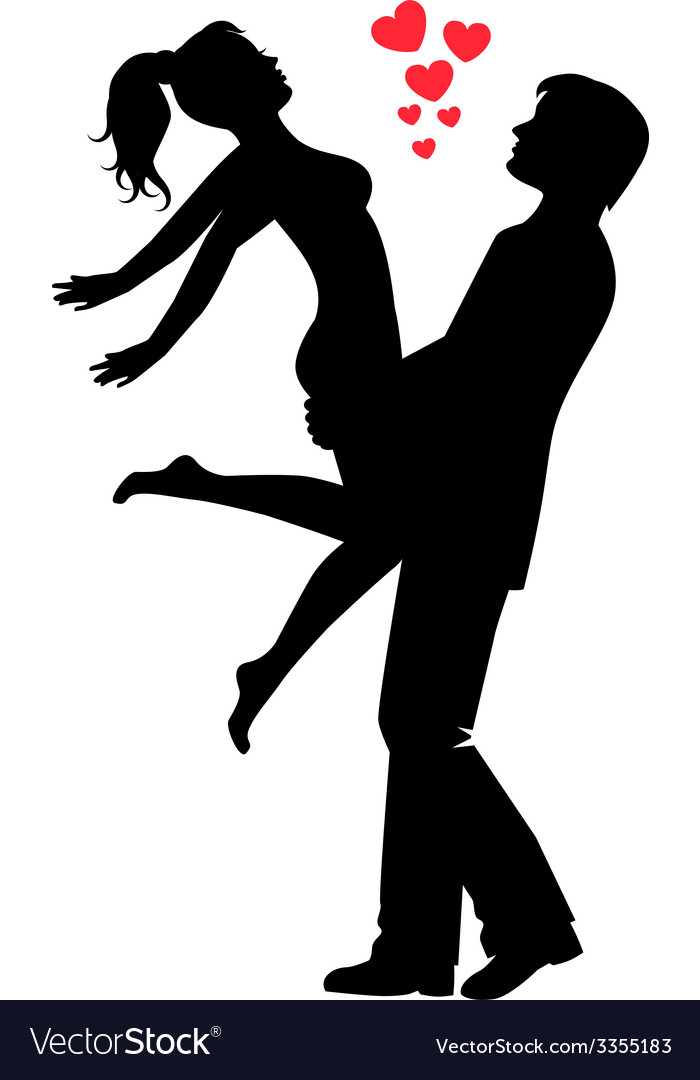 Silhouette of a happy loving couple