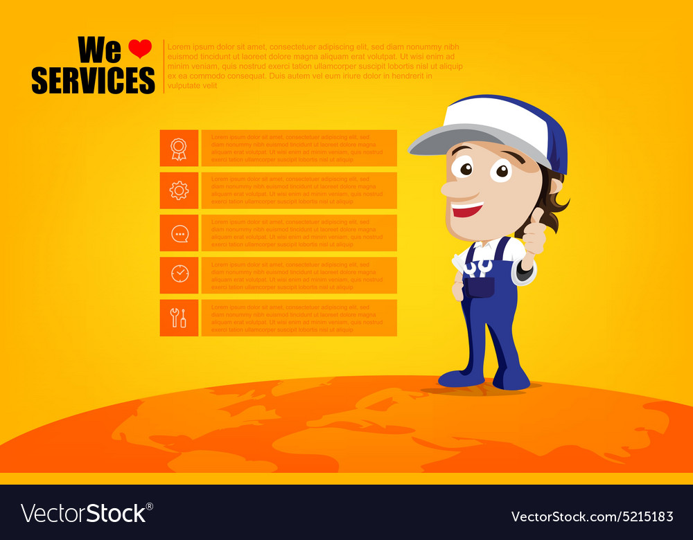 Smile and thumb up mechanic man cartoon for design