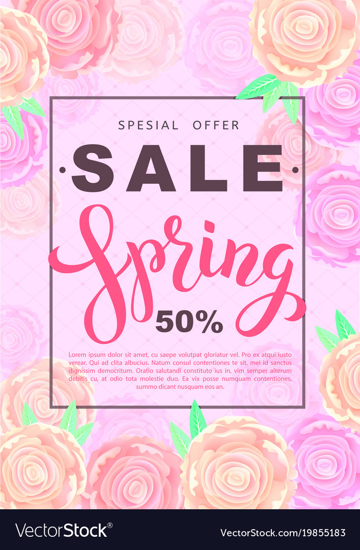 Spring sale banner with rose flowers on rose
