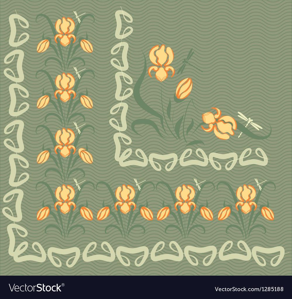 Background with yellow irises vector image