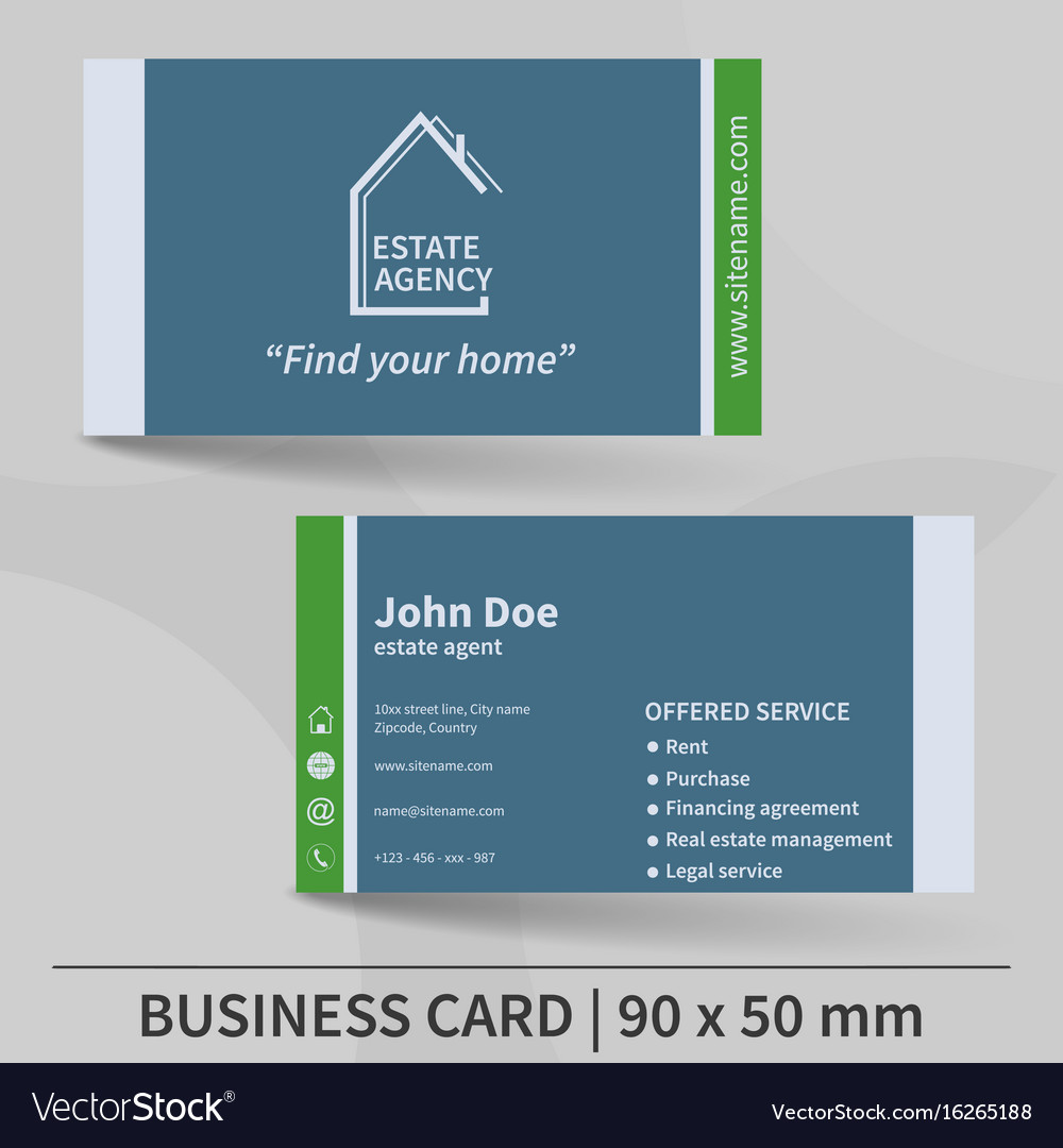 business card template real estate agency design vector image